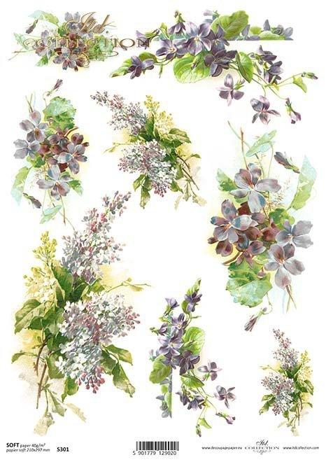Papier decoupage Veilchen, Flieder*Papír Decoupage fialky, šeřík*El documento decoupage violetas, lilas