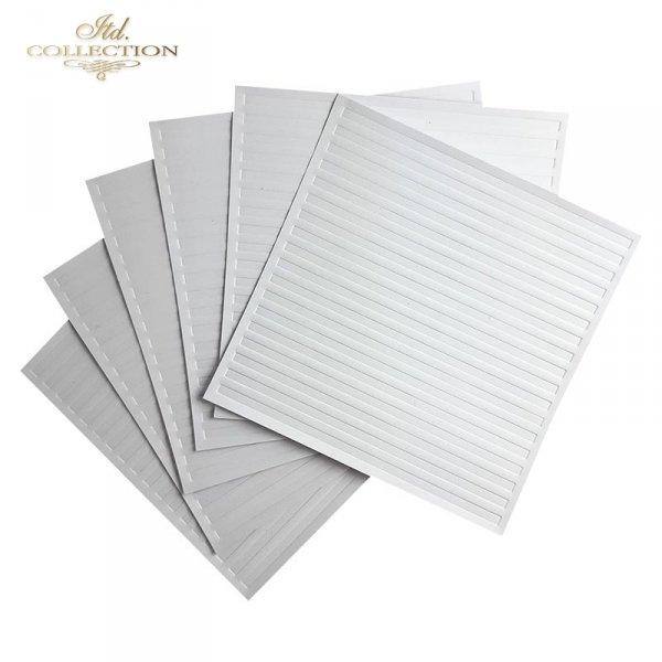 Zestaw 6 papierów specjalnych do mix media, scrapbookingu - paski, tłoczone pasy