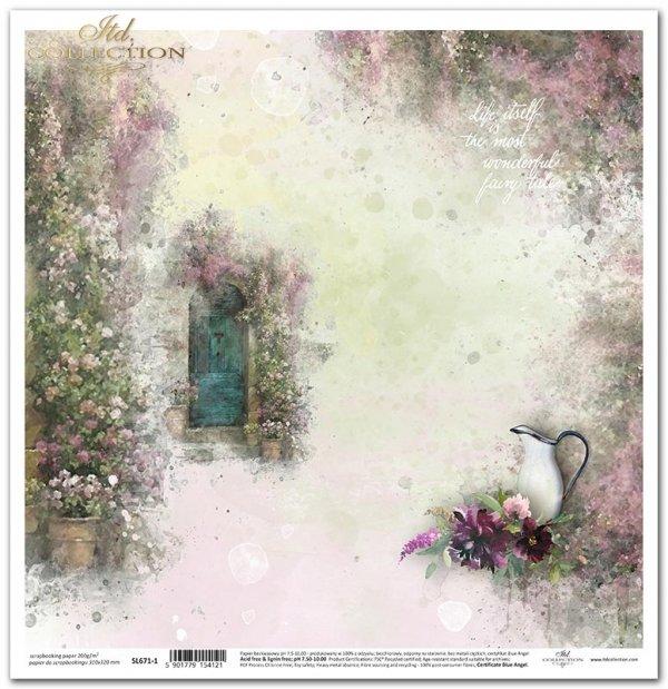 Seria Ogród marzeń - Ogród marzeń, bukiet kwiatów, ukwiecone drzwi, cytat