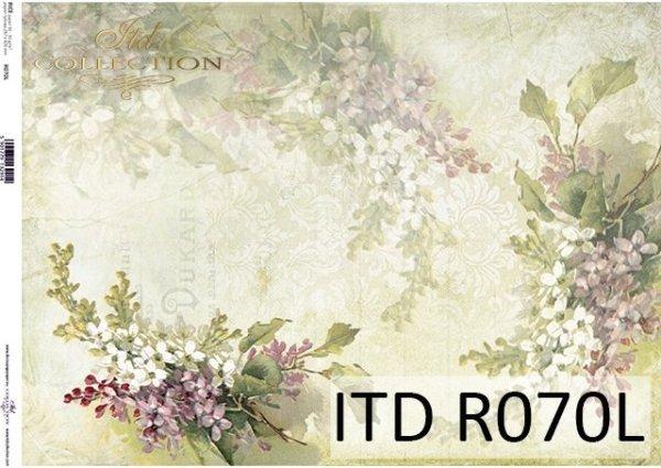 papier ryżowy kwiaty, Bzy, zielone tło*Rice paper flowers, lilac, green background