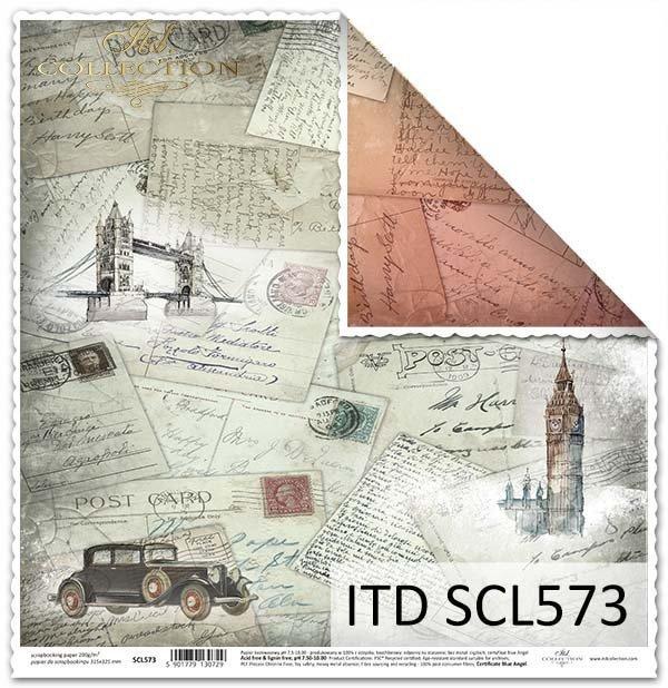 Papier do scrapbookingu - pocztówki z różnych stron świata*Paper for scrapbooking - postcards from around the world