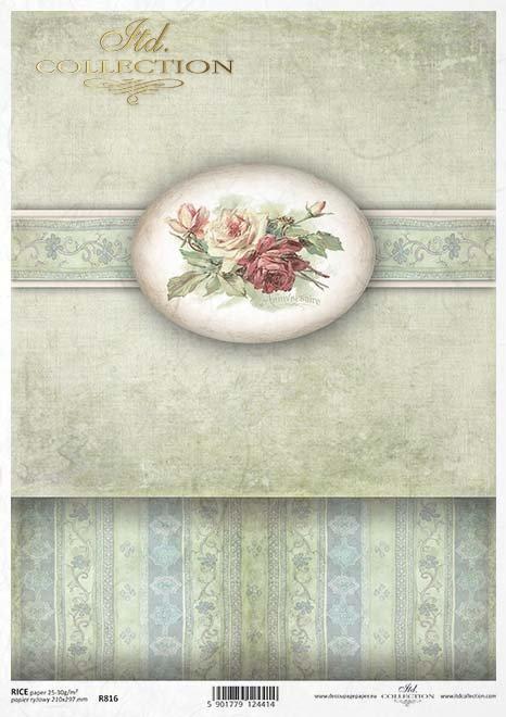 Papier ryżowy decoupage - 'PUDEŁKOWO' kwiaty, róże - R0816