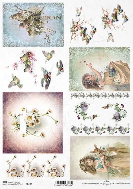papel de arroz decoupage flores, niños, animales, pájaros*Reispapier Decoupage Blumen, Kinder, Tiere, Vögel*рисовая бумага декупаж цветы, дети, животные, птицы