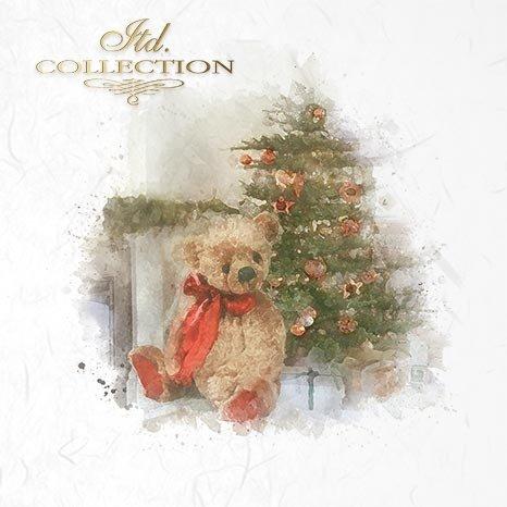 Zestaw papierów ryżowych ITD - RSM025 * Miś, pluszowy miś, miś pod choinką, święta, Boże Narodzenie