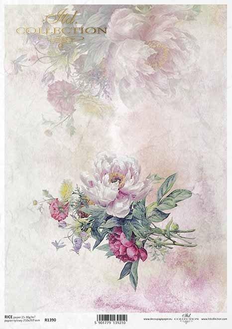 flores de papel decoupage, peonías*Papier Decoupage Blumen, Pfingstrosen*бумага декупаж цветы, пионы
