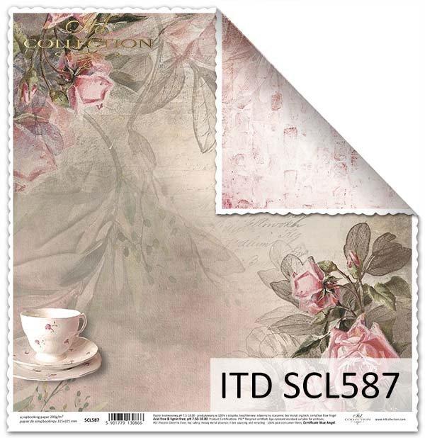 "Papier do scrapbookingu - filiżanka, kwiaty, ""tea time""*Paper for scrapbooking - cup, flowers, tea time"