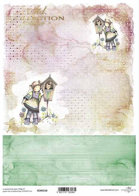 Papel de Scrapbooking con ángeles*Scrapbooking Papier mit Engeln*Скрапбукинг с ангелами
