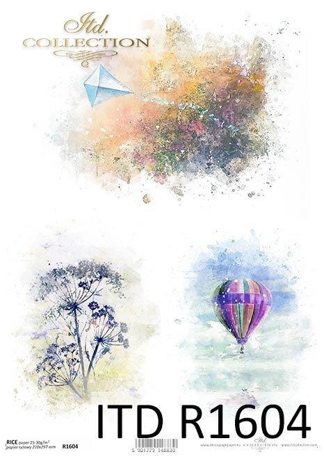 Acuarelas, cometas, globos, eneldos, colores veraniegos*Aquarelle, Drachen, Ballon, Dill, Sommerfarben*Акварели, воздушный змей, воздушный шар, укроп, летние краски
