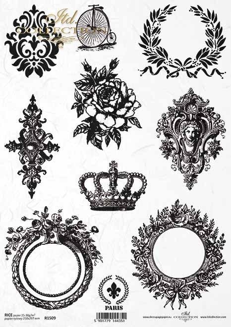 Papel de arroz vintage, óvalos, corona, laurel, decoraciones*Vintage Reispapier, Ovale, Krone, Lorbeer, Dekore*Винтажная рисовая бумага, овалы, корона, лорел, декоры