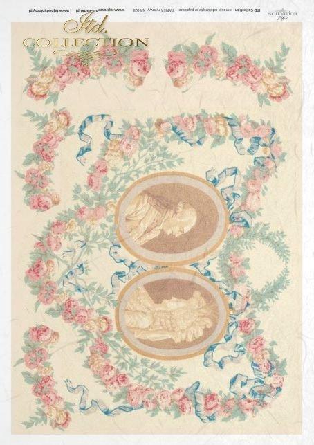 medallion, medallions, portraits, flower, flowers, decoration, decorations, ornament, ornaments, retro, vintage, R028