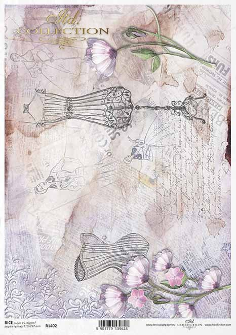 Vintage Decoupage Papier, Schaufensterpuppe, Korsett*Papel decoupage vintage, maniquí, corsé*Винтажная бумага для декупажа, манекен, корсет