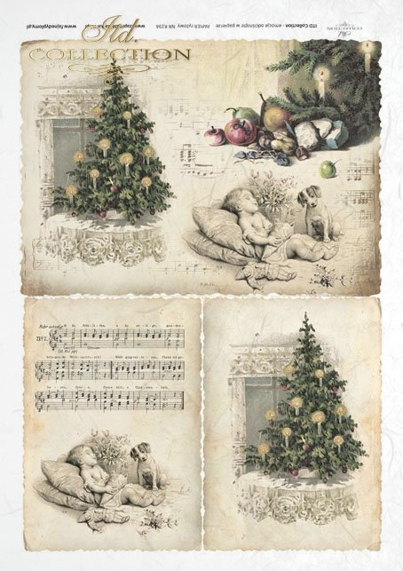 decoupage-scrapbooking-mixed-media-Christmas-tree-decorations-Christmas-retro-vintage