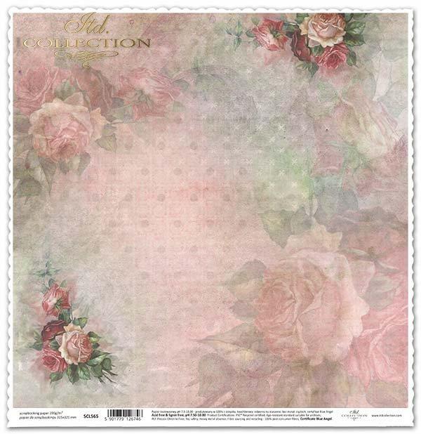 Papír oboustranný scrapbooking růže*Rosas de álbum de recortes de papel-sided*Papier-seitig Scrapbooking Rosen