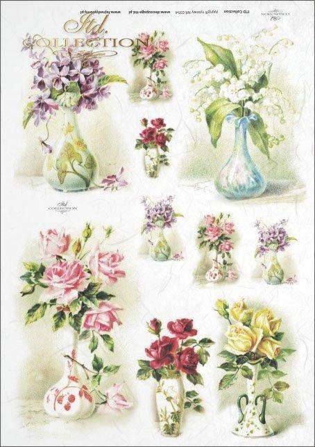 flower, flowers, vase, vases, bouquet, bouquets, violet, violets, lily of the valley, retro, vintage, R354