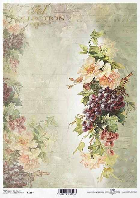 Vintage de papel decoupage, rosas, uvas*Урожай декупаж бумага, розы, виноград*Vintage Decoupage Papier, Rosen, Trauben