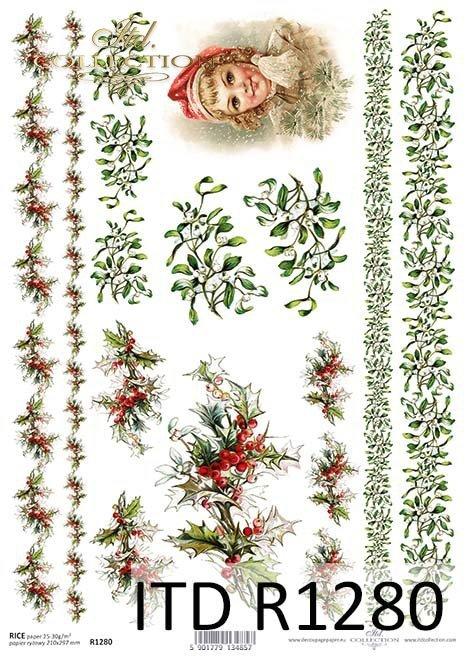Papier decoupage Vintage, świąteczne szlaczki, jemioła, ostrokrzew*Рождество, праздничные тропы, падуб, омела