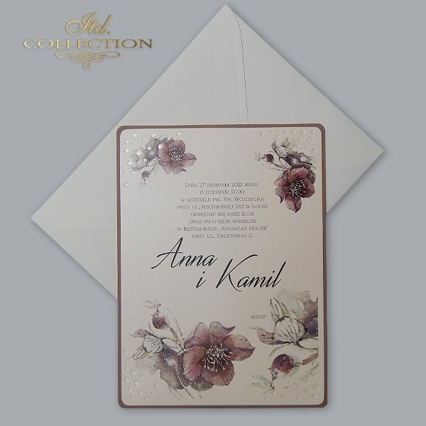Zaproszenie 2071*Zaproszenia ślubne*zaproszenia na ślub*zaproszenia weselne*zaproszenia z kwiatami*eleganckie zaproszenia