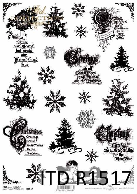 Papier ryżowy świąteczny, Vintage, choinki, amorki, śnieżynki, napisy*Rice paper, Christmas, Vintage, Christmas tree, cupids, snowflakes, inscriptions