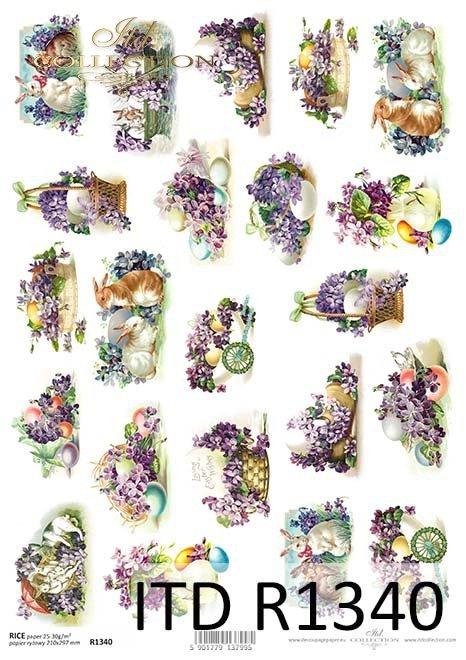 papier ryżowy decoupage Wielkanoc, fiołki, zające*rice decoupage paper Easter, violets, bunnies
