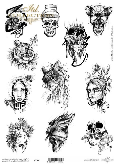 Grafiki tatuaży Moniki Dutkiewicz Art * sowa, tygrys, motyl, kot, czaszki, twarz, węże.