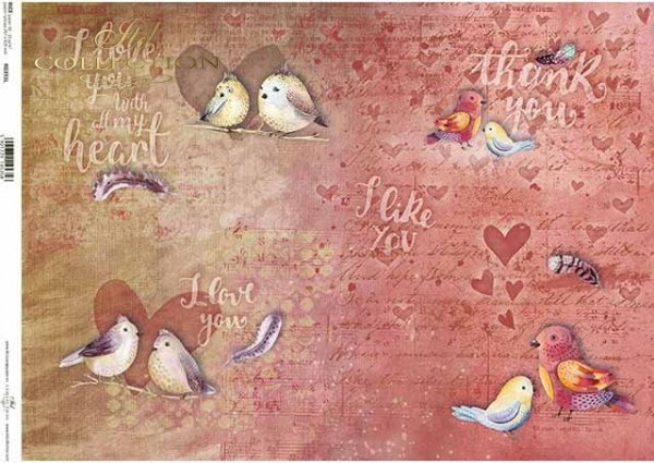 R0393L ptaszki, serduszka, różowe tło, nowoczesna wersja walentynki, 'I love You with all my heart'
