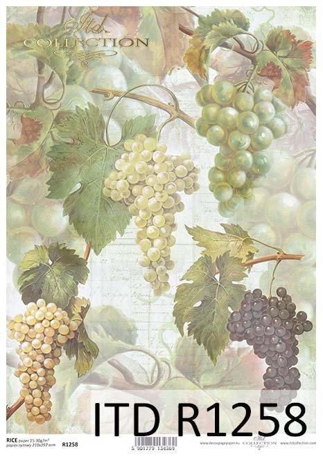 papier decoupage owoce, winoogrona*Paper decoupage fruit, grapes