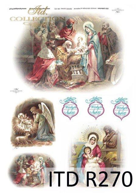 Święta Rodzina, Żłóbek, Stajenka, Boże Narodzenie, Trzech Króli, anioł, Dzieciątko Jezus, R270