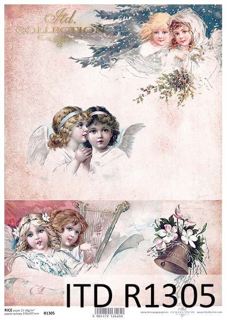 papier decoupage aniołki, Vintage*paper decoupage of angels, Vintage*decoupage de papel de ángeles, Vintage*Papier Decoupage von Engeln, Vintage*бумажная декупаж ангелов, винтаж