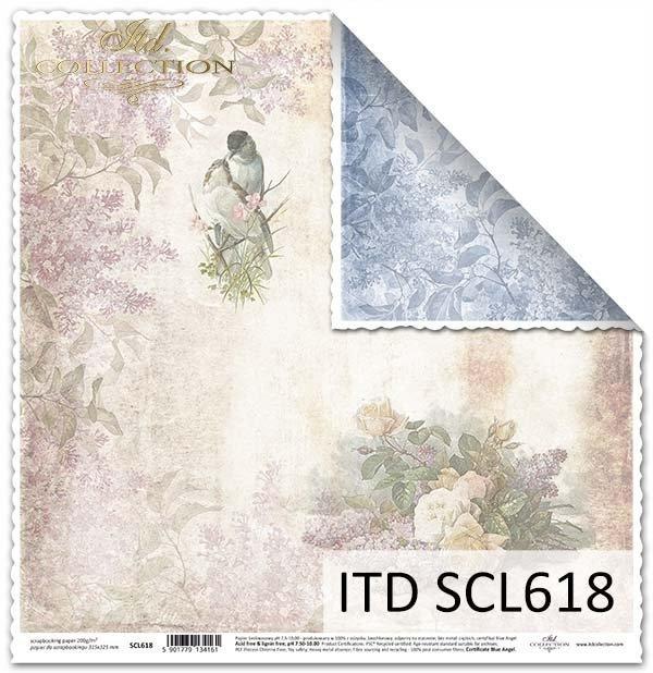 papier do scrapbookingu, kwiaty, bzy, ptaszki*Paper for scrapbooking, flowers, lilac, birds