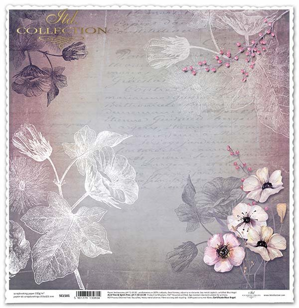 Papier für das Scrapbooking - Insekten, Kolibri, Blumen, Postkarten*Papel para álbum de recortes - insectos, colibrí, flores, tarjetas postales*Papír na scrapbooking - hmyz, kolibřík, květiny, pohlednice