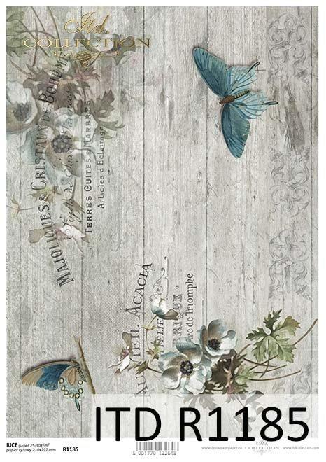 papier decoupage Vintage, szare deski, motyle*motyle*Vintage decoupage paper, angels, butterflies