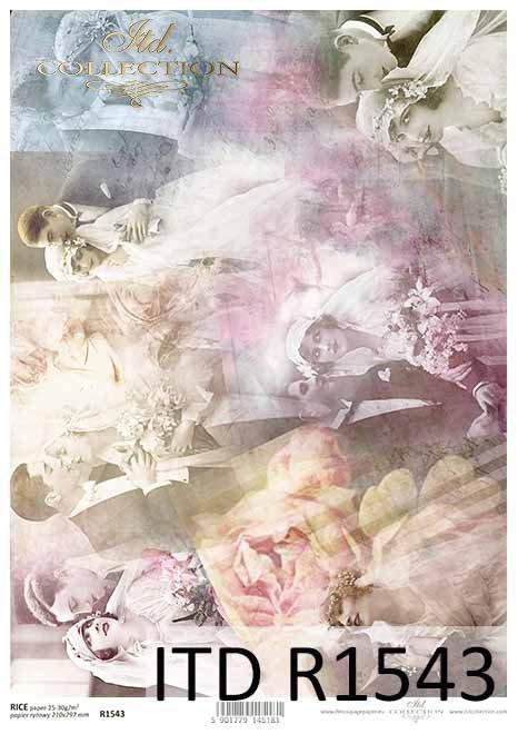 Młode-Pary-zakochani-kochankowie-stare-zdjęcia-Vintage-kolaż-Papier-decoupage-ryżowy-R1543-Young Couples