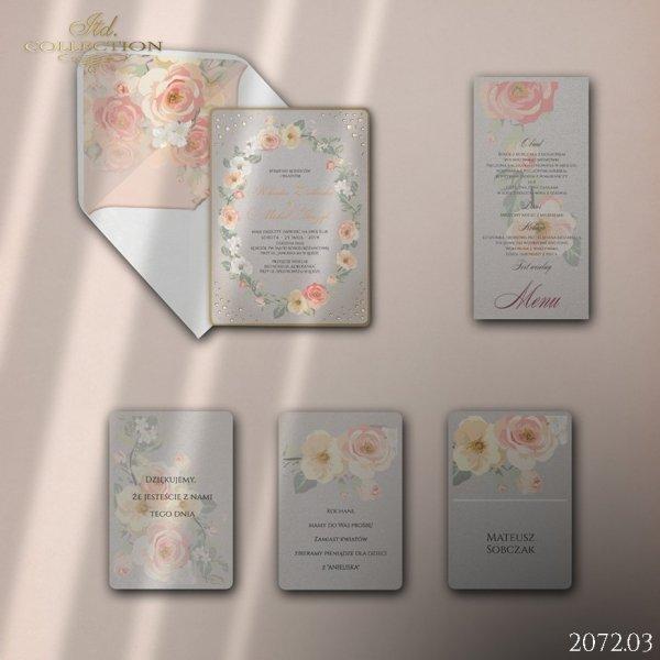 Zaproszenie 2072 * Zaproszenia ślubne * menu * winietka * koperta z wklejką - wersja 3