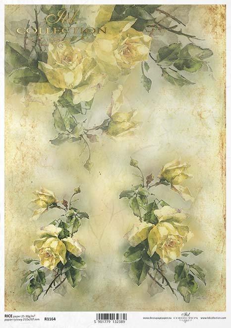 Decoupage Papier gelbe Rosen, Blumen*papel decoupage rosas amarillas, flores