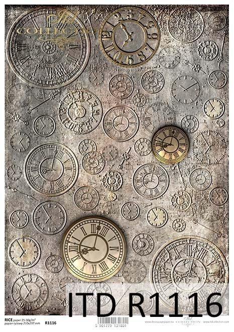 Papier decoupage tła, tarcze zegarów*Papel Decoupage fondo, diales