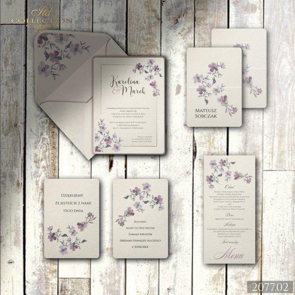 Zaproszenie 2077 * Zaproszenia ślubne * menu * winietka * koperta z wklejką - wersja 2