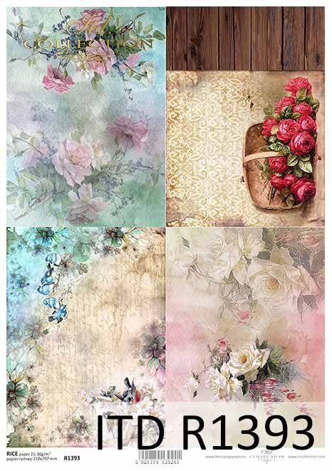 papier decoupage tła, tapety, kwiaty, ptaki*decoupage paper backgrounds, wallpapers, flowers, birds