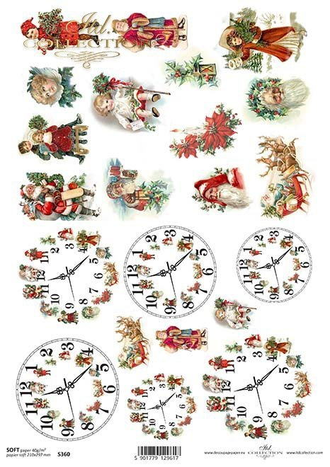 papel decoupage relojes de Navidad, Navidad, Santa Claus*Papír Decoupage Vánoční hodiny, Christmas, Santa Claus*Papier decoupage Weihnachten Uhren, Weihnachten, Weihnachtsmann