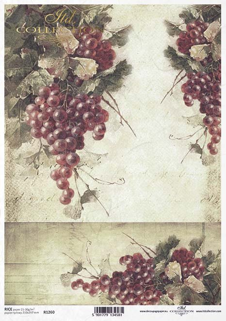 Fruta de decoupage de papel, uvas rojas*Бумага для декупажа, красный виноград*Papier decoupage Frucht, rote Trauben