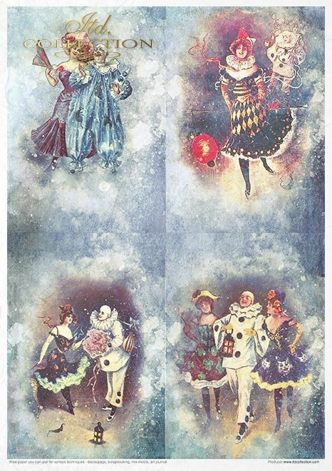 Zestaw kreatywny na papierze ryżowym - Karnawał zakochany Pierrot*Creative set on rice paper - Carnival - Pierrot in love