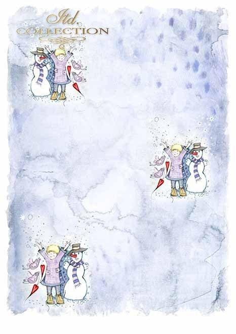 Papiery do scrapbookingu w zestawach - Aniołkowo i śnieżynki*Scrapbooking papers in sets - Angels and snowflakes