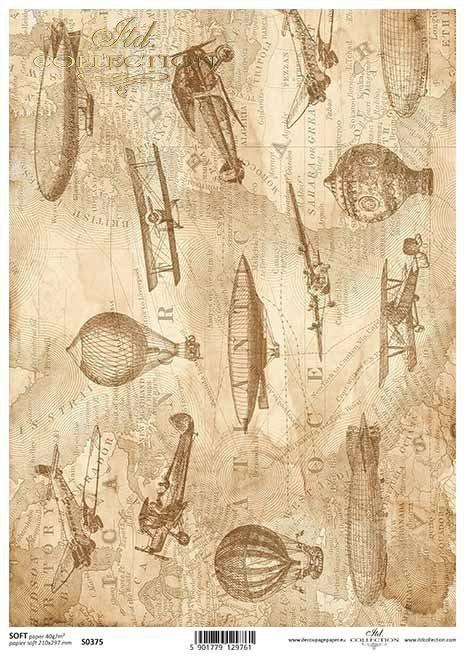 mapa de papel decoupage en sepia, aviones, globos*Karte Decoupage Papier in Sepia, Flugzeuge, Luftballons*карта декупаж бумаги в сепии, самолеты, воздушные шары
