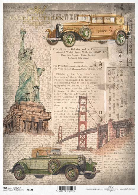decoupage viaje en el tiempo de papel, la arquitectura, los coches viejos*decoupage cestování časem papír, architektura, stará auta*Decoupage Papier Zeitreise , Architektur, alte Autos