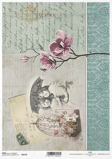 Postal vieja de papel decoupage, niños, magnolia*Alte Postkarte Papierserviettentechnik , Kinder, Magnolie