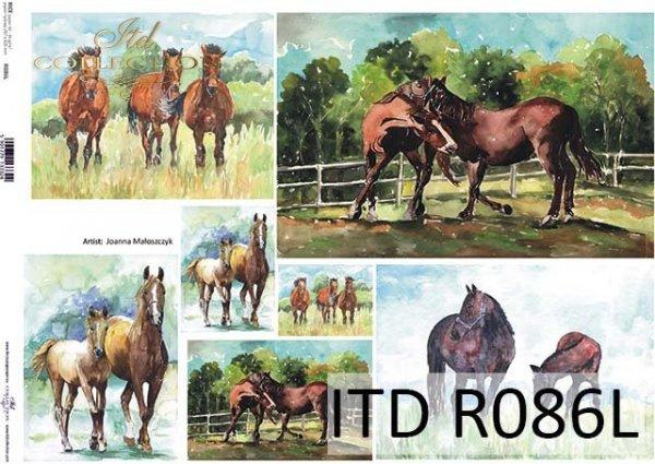 Papier decoupage malarstwo współczesne-konie*Paper decoupage contemporary painting-horses