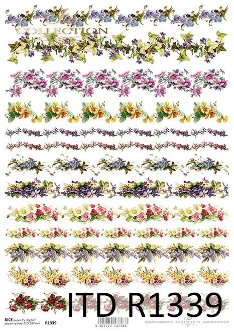 papier ryżowy decoupage kwiaty*rice paper decoupage flowers
