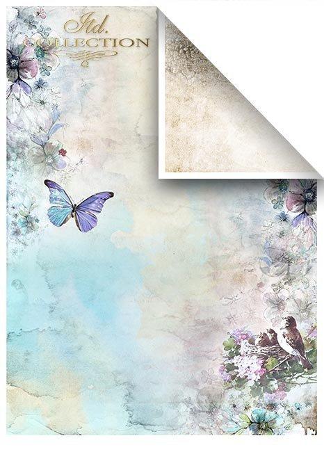 Zestawy-papierow-do-scrapbookingu-zestaw-Lato-w-blekitach-SCRAP-046-06-ptaszki-motylki-akwarelowe-kwiatki-mediowe-struktury-tla-struktury-farb-desek-spekalin-crak