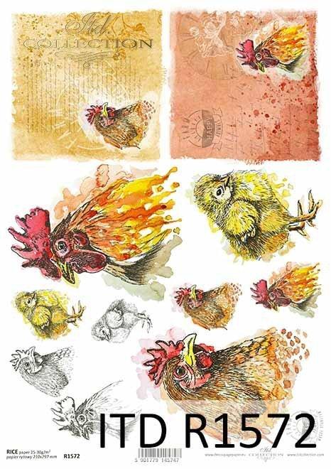 Papier decoupage Wielkanoc, szczęśliwa farma, kury, kurczaczki, koguty*Easter decoupage paper, happy farm, hens, chicken, roosters