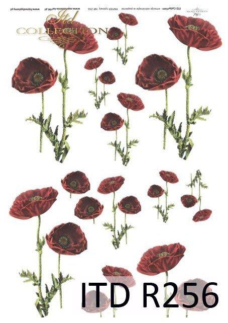 papier-ryżowy-decoupage-maki-łąka-polne-kwiaty-ogród-R0256