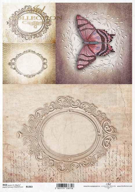 Decoupage Papier mit alten Rahmen, Schmetterling, Vintage*Papel decoupage con marco antiguo, mariposa, Vintage*Декупаж бумага со старой рамой, бабочка, винтаж